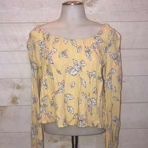 Forever 21 Yellow Floral Blouse Boho